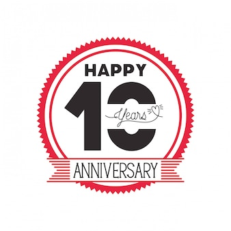 Number 10 for anniversary celebration emblem or insignia