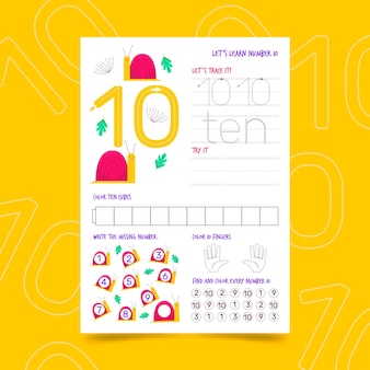Number 10 worksheet template