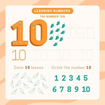 Foglio di lavoro numero 10 con foglie