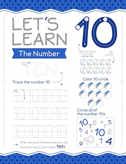 Number 10 worksheet with moon
