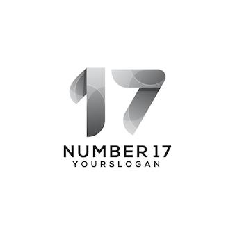Number 17 colorful logo design template