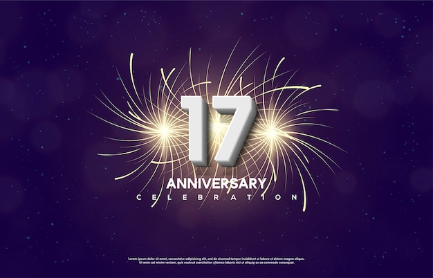 Номер 17 для празднования дня рождения с изображением петард за цифрами.