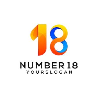 Number 18 colorful logo design template