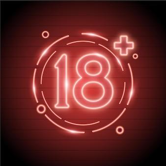 네온 스타일의 숫자 18+