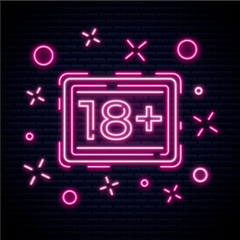 Number 18+ in neon concept
