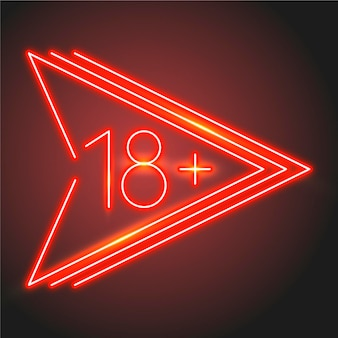 Number 18+ in neon style concept