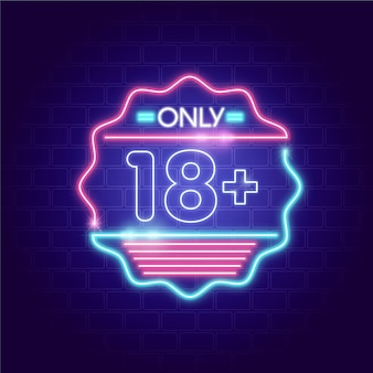 Number 18+ in neon style
