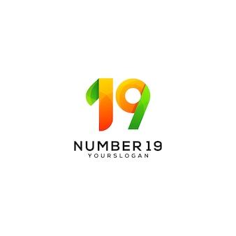 Number 19 colorful logo design template