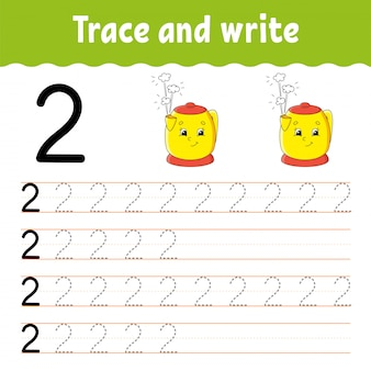 Number 2. trace and write. handwriting practice. learning numbers for kids. education developing worksheet.