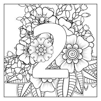 Number 2 with mehndi flower decorative ornament in ethnic oriental style coloring book page