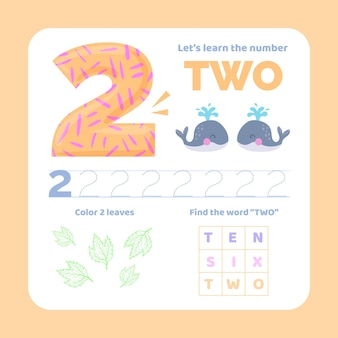 Number 2 worksheet with animals