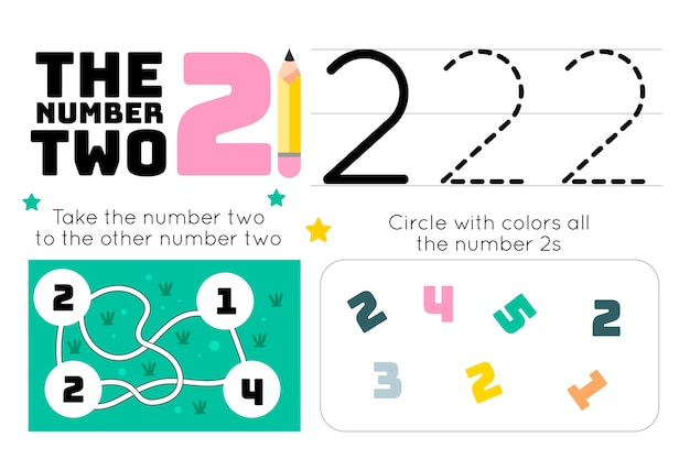 Number 2 worksheet with maze