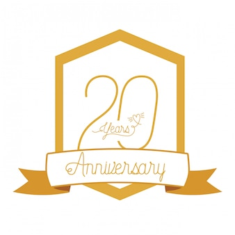 記念日のお祝いの紋章または記章の番号20