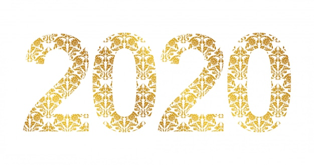 Number 2020 year with golden floral shapes
