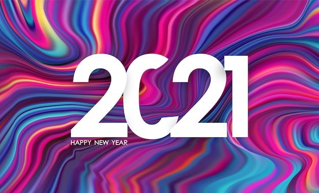 Number of 2021. happy new year in trendy design