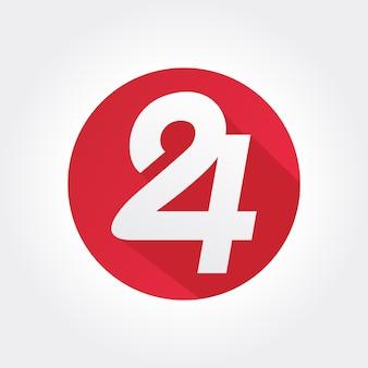 Номер 24 значок внутри круга