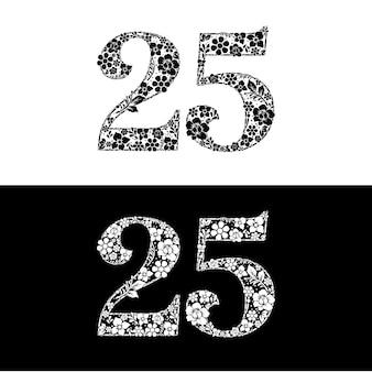 꽃과 식물로 구성된 숫자 25 로고