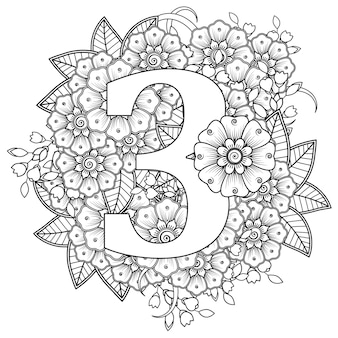 Number 3 with mehndi flower decorative ornament in ethnic oriental style coloring book page