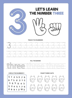 Number 3 worksheet template