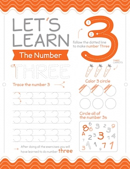 Number 3 worksheet with circles