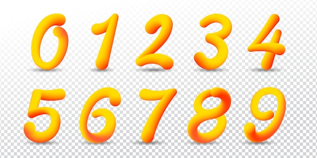 Number in 3d style with gradient vivid colors.