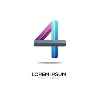 ナンバー4のロゴのカラフルなグラデーション