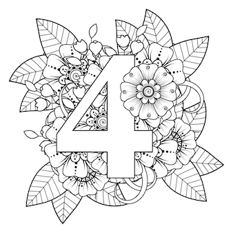 Number 4 with mehndi flower decorative ornament in ethnic oriental style coloring book page