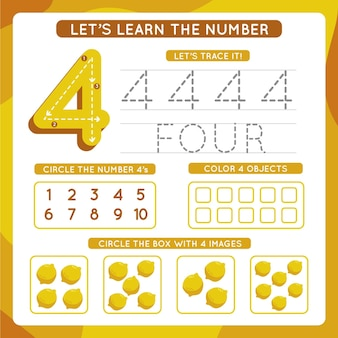 Number 4 worksheet template