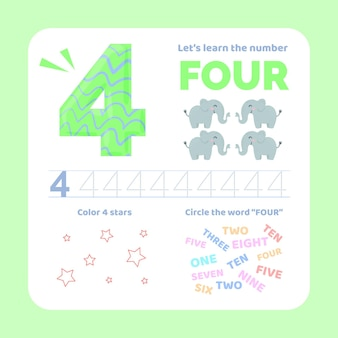 Number 4 worksheet with animals