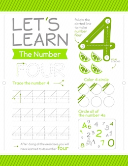 Number 4 worksheet with circles
