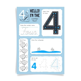 Number 4 worksheet with fish drawing