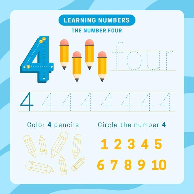 Number 4 worksheet with pencils