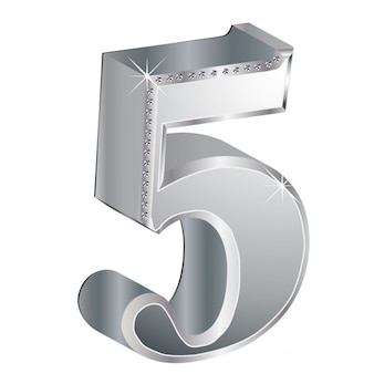 Number 5, 3d, metallic