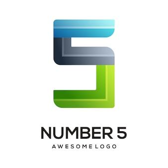 Номер 5 логотип красочный градиент