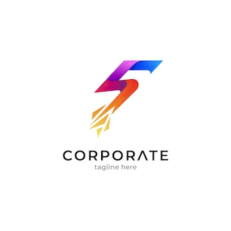 Number 5 logo with pixel shape or crystal shard effect