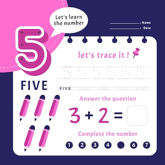 Number 5 worksheet template