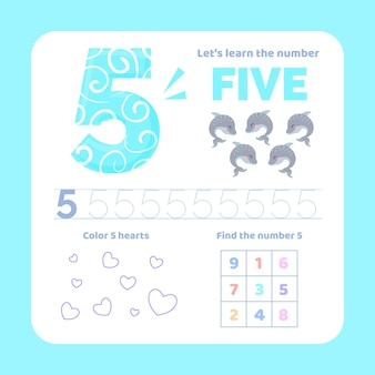 Number 5 worksheet with animals