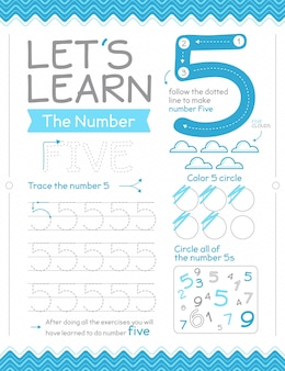 Number 5 worksheet with circles