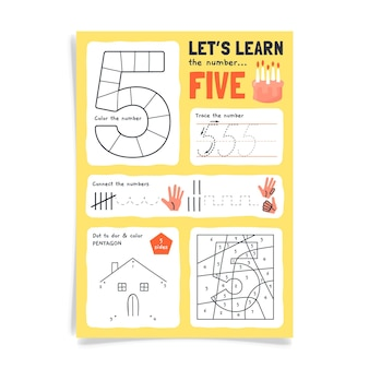 Number 5 worksheet with house drawing