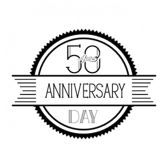 Number 50 for anniversary celebration emblem or insignia