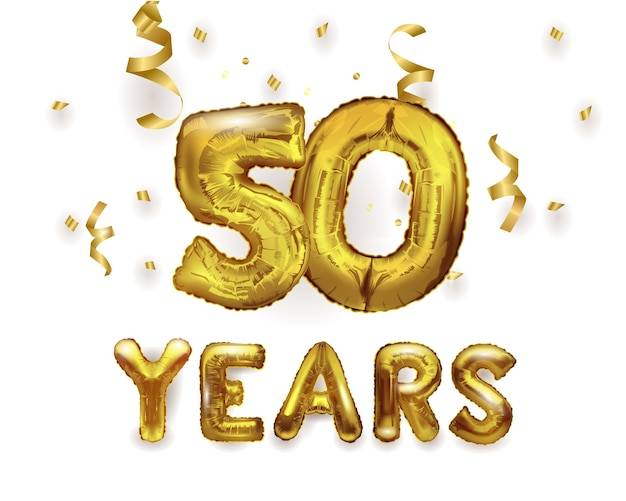 Number 50 birthday celebration gold foil helium balloon with presents. number 50 foil balloon.