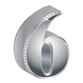 Number 6, 3d, metallic