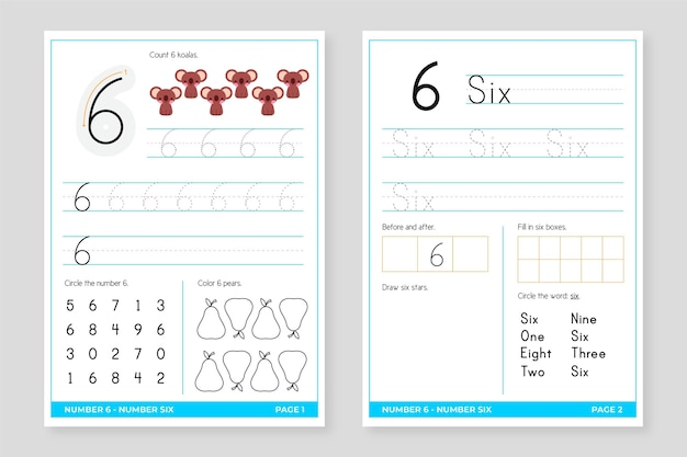 Number 6 worksheet template
