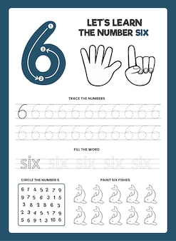 Number 6 worksheet template