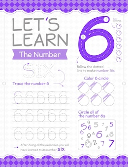 Number 6 worksheet with circles