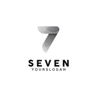 Number 7 colorful logo design template Premium Vector