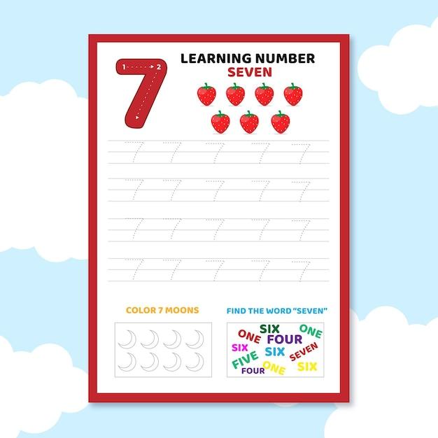 Number 7 worksheet template