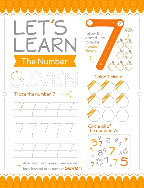 Number 7 worksheet with circles