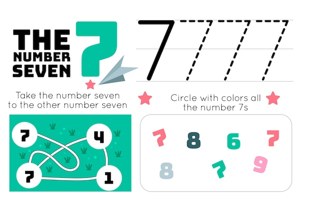 Number 7 worksheet with maze