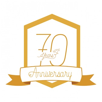 Number 70 for anniversary celebration emblem or insignia